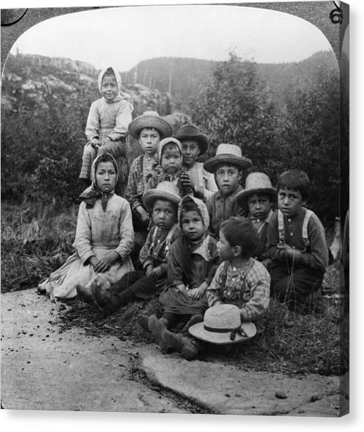 Portrait Of Children From Indian Tribe Canvas Print by Kean Collection