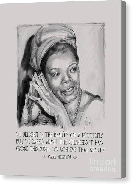Portrait Of Maya Angelou Canvas Print