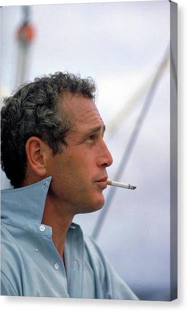 Portrait Of Paul Newman Smoking Canvas Print by Mark Kauffman