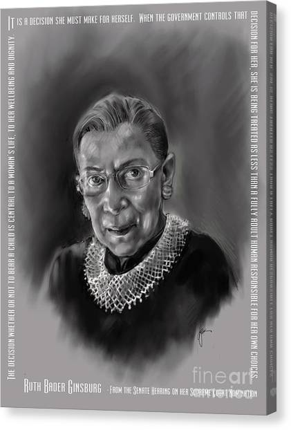 Portrait Of Ruth Bader Ginsburg Canvas Print
