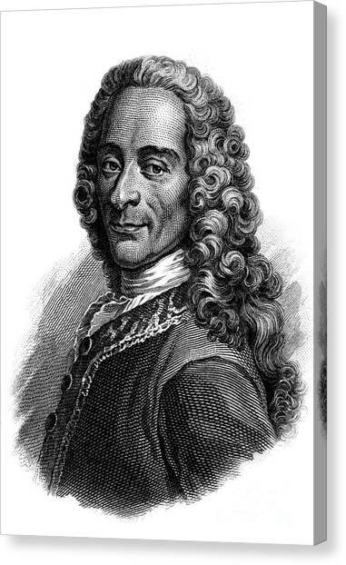 Long Hair Canvas Print - Portrait Of Voltaire, Engraving  by French School
