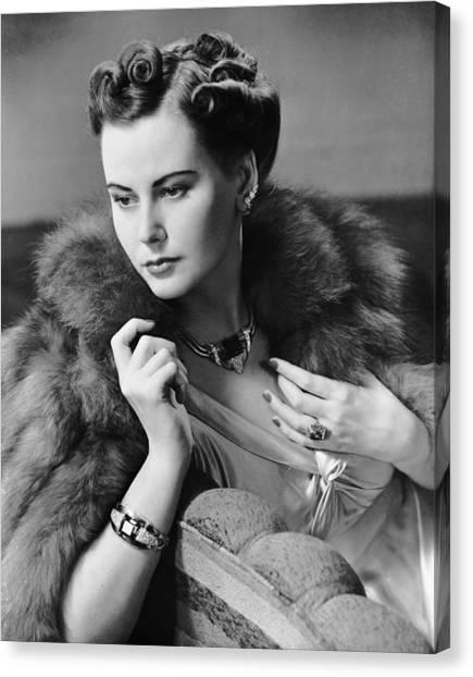 Portrait Of Woman Wearing Jewelry & Fur Canvas Print