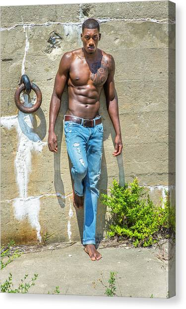 Portrait Of  Young Black Fitness Guy Canvas Print
