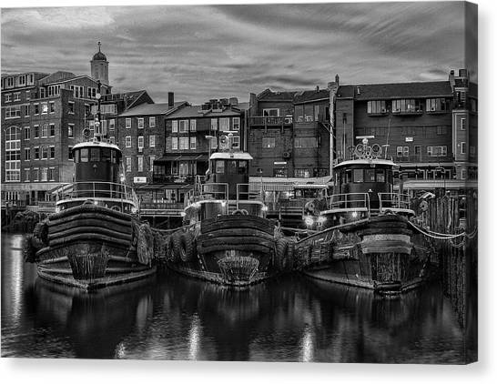 Portsmouth Tugboats At Dawnt In Black And White Canvas Print