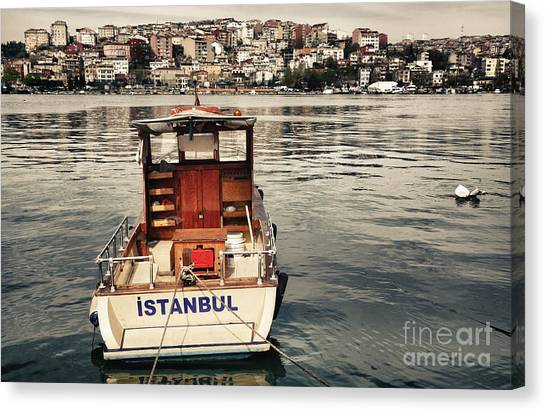 Urban Decay Canvas Print - Postcard From Istanbul. Motor Boat By by Kn