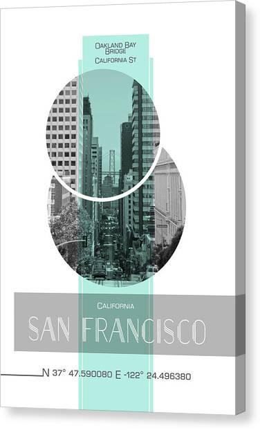 Poster Art San Francisco California Street Canvas Print by Melanie Viola