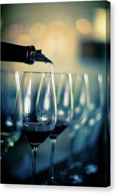 Sonoma Valley Canvas Print - Pouring Red Wine Into Glasses by Halbergman