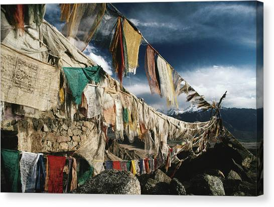 Prayer Flags Above Leh, Ladakh, Leh Canvas Print