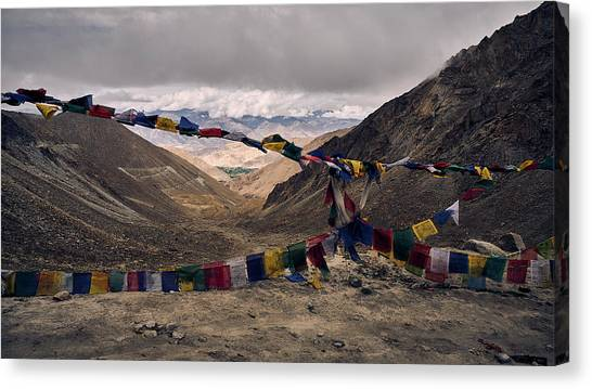 Prayer Flags In The Himalayas Canvas Print