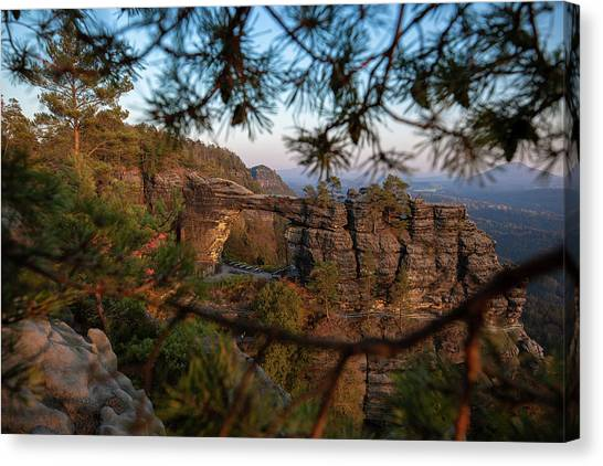 Canvas Print featuring the photograph Prebischtor In The Evening Light by Andreas Levi