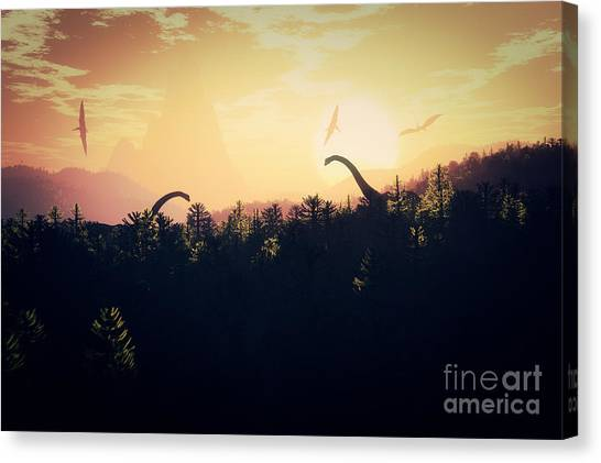 Meditate Canvas Print - Prehistoric Jungle With Dinosaurs In by Boscorelli