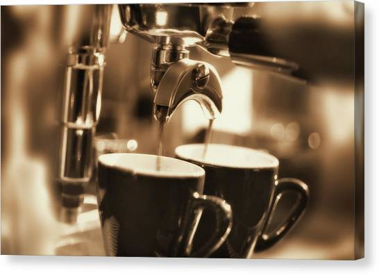 Preparing Two Cups Of Espresso Coffee Canvas Print