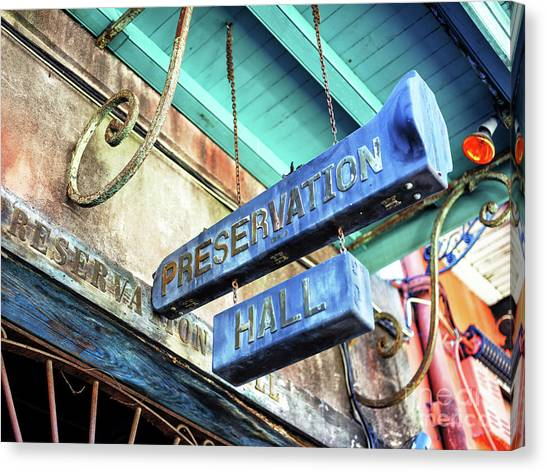 Preservation Hall In New Orleans Canvas Print by John Rizzuto