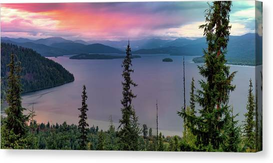 Priest Lake Sunset View Canvas Print by Leland D Howard