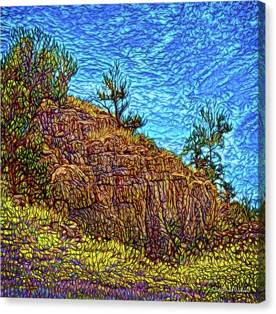 Canvas Print featuring the digital art Primeval Red Cliffs by Joel Bruce Wallach