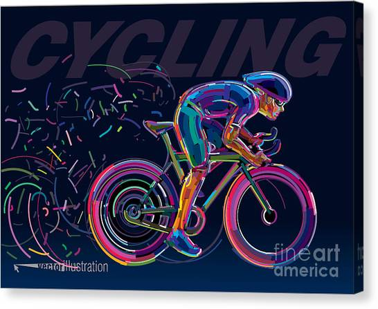 Cyclist Canvas Print - Professional Cyclist Involved In A Bike by Archetype