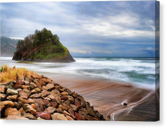 Proposal Rock On The Oregon Coast Canvas Print