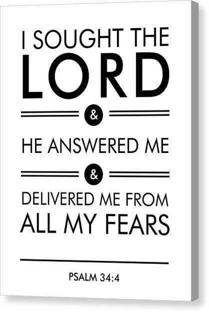 Bible Verses Canvas Print - Psalm 34-4 - Spiritual Wall Art - Bible Verses Art - Minimalist Scripture 1 by Studio Grafiikka
