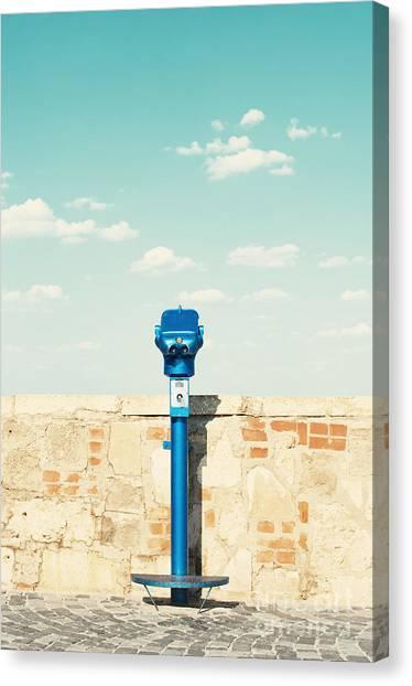 Bricks Canvas Print - Public Binocular In Budapest Hungary by Waku