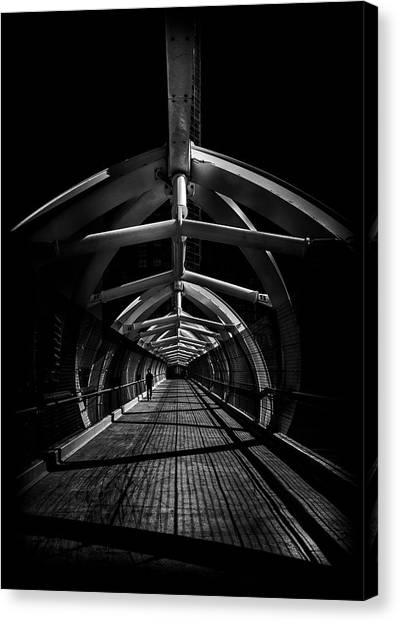 Canvas Print featuring the photograph Puente De Luz Pedestrian Bridge Toronto Canada No 1 by Brian Carson