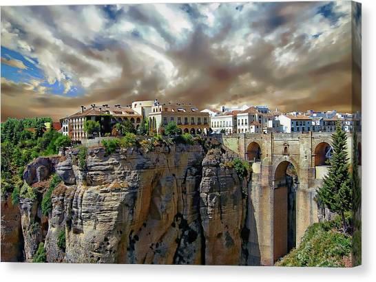 Canvas Print featuring the photograph Puente Nuevo Bridge by Anthony Dezenzio