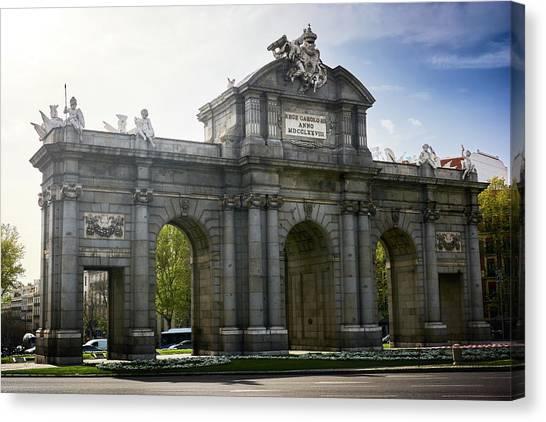 Puerta De Alcala In Madrid, Spain Canvas Print