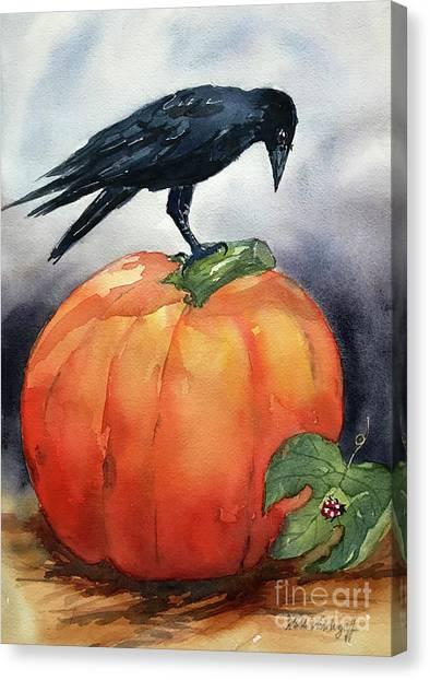 Pumpkin And Crow Canvas Print