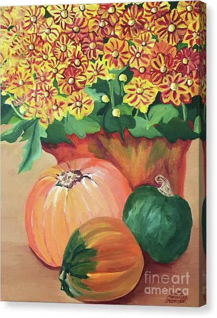 Pumpkin With Flowers Canvas Print