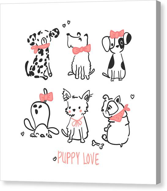 Puppy Love - Baby Room Nursery Art Poster Print Canvas Print