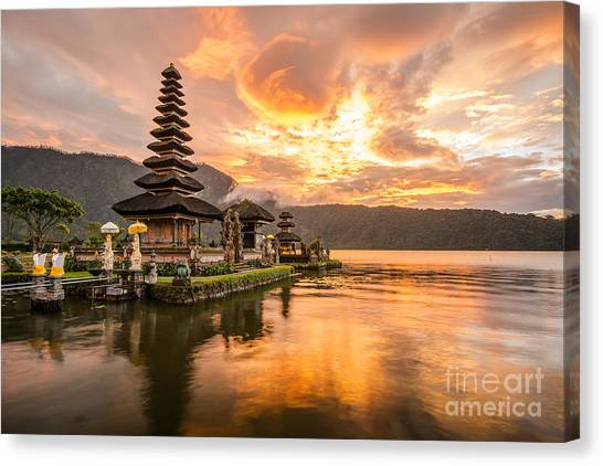 Worship Canvas Print - Pura Ulun Danu Bratan, Hindu Temple On by Zephyr p