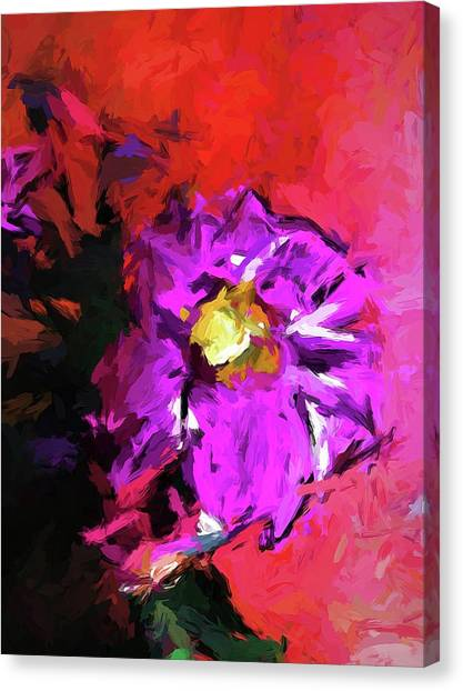Purple And Yellow Flower And The Red Wall Canvas Print