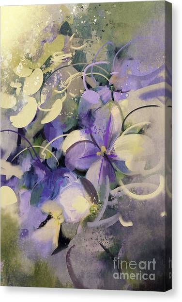 Acrylic Canvas Print - Purple Flowers With Grunge Texture In by Tithi Luadthong
