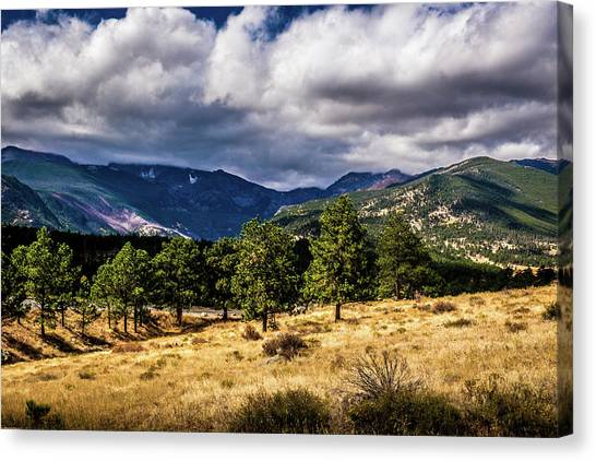Canvas Print featuring the photograph Purple Mountains by James L Bartlett