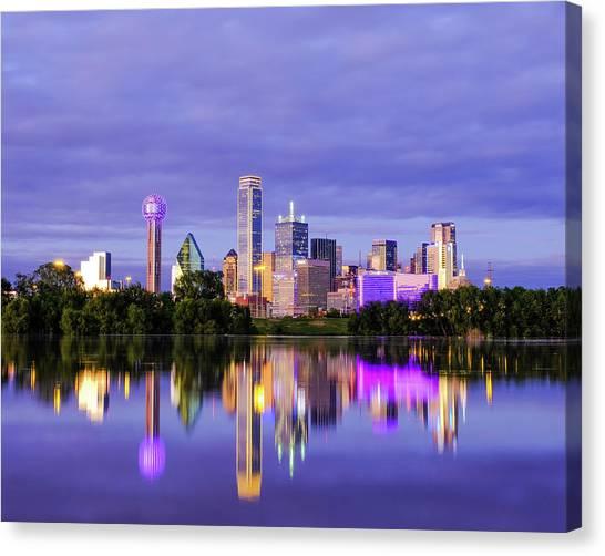 Purple Rain City Of Dallas Texas Canvas Print