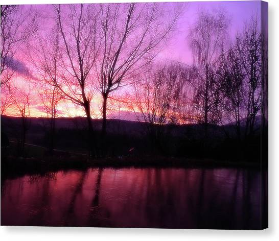 Purple Winter Sunset Over The Lake Canvas Print