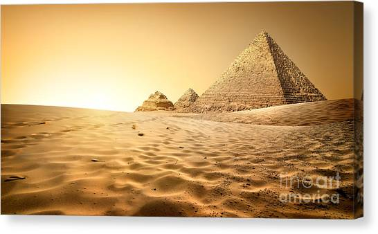 Medieval Canvas Print - Pyramids In Sand by Givaga