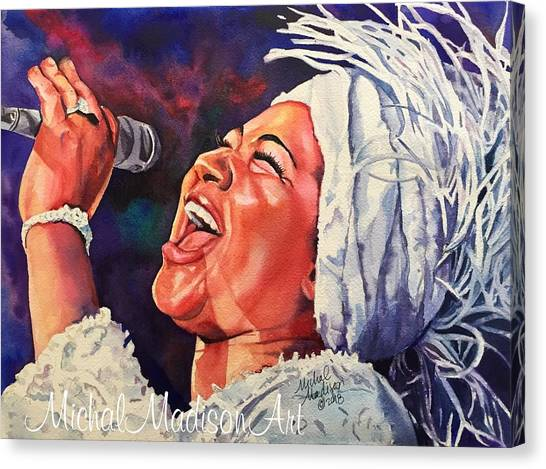Canvas Print featuring the painting Queen Of Soul by Michal Madison