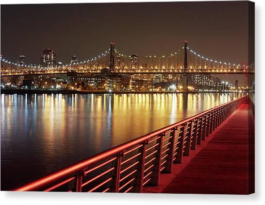 Queensboro Bridge At Night Canvas Print