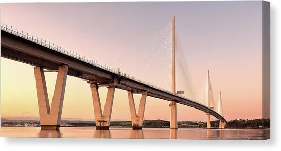 Canvas Print featuring the photograph Queensferry Crossing Bridge Sunset by Grant Glendinning