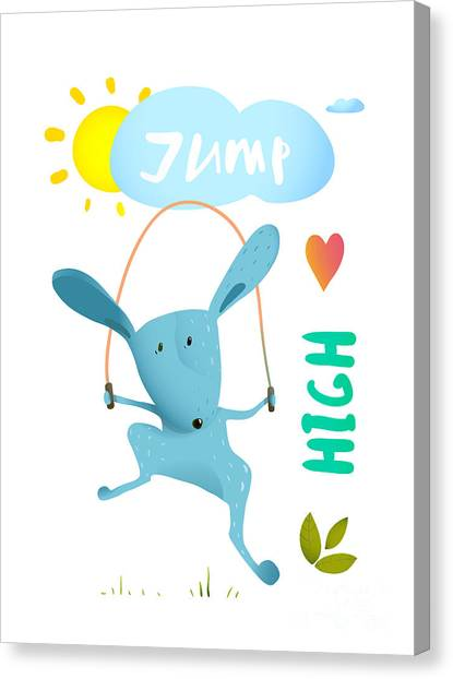 Rope Canvas Print - Rabbit Jumping Rope For Kids. Hare by Popmarleo