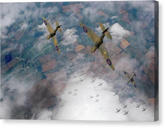Raf Spitfires Swoop On Heinkels In Battle Of Britain Canvas Print