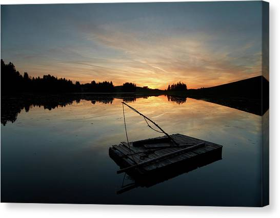 Raft Floating On A Lake In Bavaria Canvas Print
