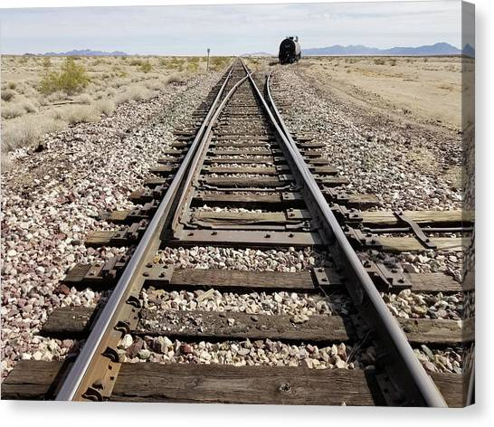 Railroad Mainline Arizona And California Railroad In The California Desert Canvas Print