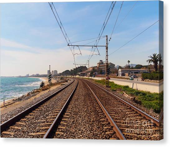 Old Train Canvas Print - Railway To The Coast Of The by Pere Rubi