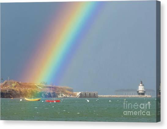Rainbow At Spring Point Ledge Canvas Print