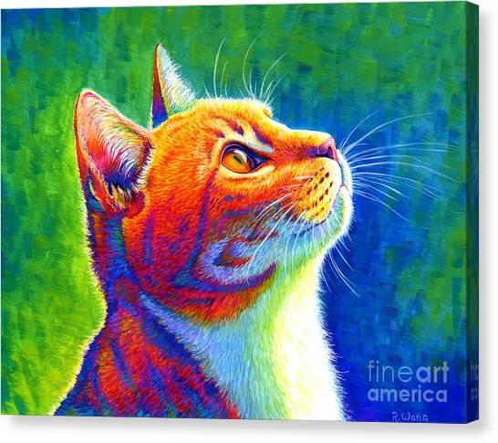 Rainbow Cat Portrait Canvas Print