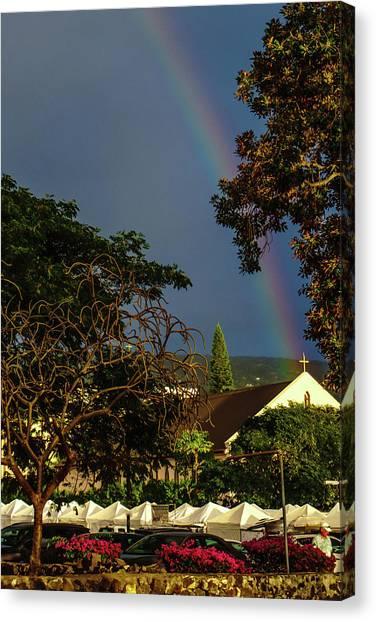 Rainbow Ended At The Church Canvas Print