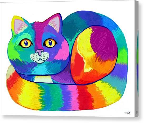 Canvas Print - Rainbow Spectrum Cat by Nick Gustafson