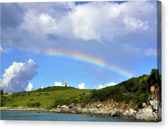 Rainbow Over Buck Island Lighthouse Canvas Print