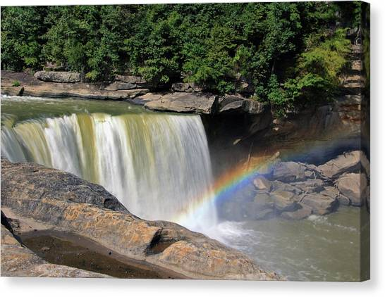 Canvas Print featuring the photograph Rainbow Over Cumberland Falls by Angela Murdock